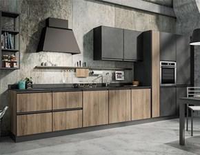 Cucina rovere chiaro industriale lineare Cucina industrial big con colonne  Nuovi mondi cucine