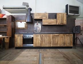 Cucina rovere chiaro industriale lineare Cucina industriale  vintage in legno e ferro  offerta unica Nuovi mondi cucine in offerta