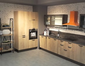 Cucina rovere chiaro industriale lineare Kyra vintage Creo kitchens in Offerta Outlet