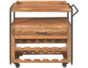 Cucina rovere chiaro industriale lineare Mobile carrello cucina in legno di mango  Outlet etnico in Offerta Outlet