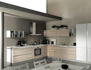 Cucina rovere chiaro moderna ad angolo Marylin Aran in Offerta Outlet