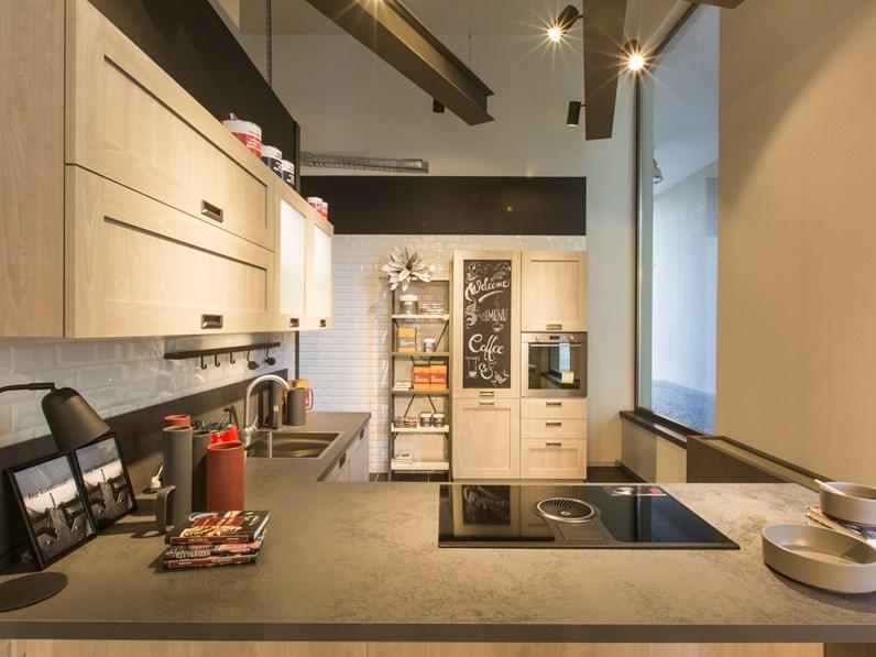 Cucina rovere chiaro moderna con penisola expo city stosa - Cucine in rovere chiaro ...