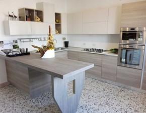 Cucina rovere chiaro moderna con penisola Mango Arrex