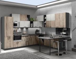 Cucina rovere chiaro moderna con penisola Marte Artigianale in Offerta Outlet