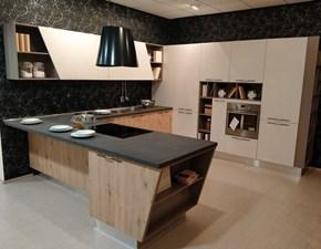 Cucina rovere chiaro moderna con penisola Mia Aran in Offerta Outlet