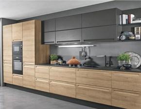 Cucina rovere chiaro moderna lineare Cucina moderna  lineare in offerta compresa di colonne grigio e olmo  Nuovi mondi cucine in Offerta Outlet