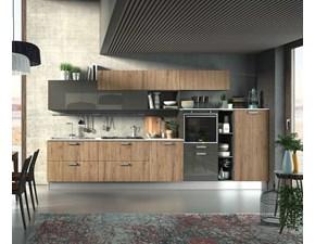 Cucina rovere chiaro moderna lineare Modello planet wood Mobilificio bellutti in Offerta Outlet