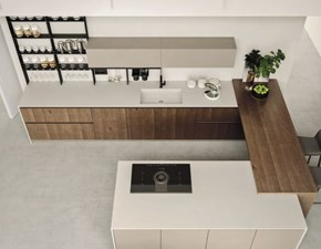 Cucina rovere moro moderna ad angolo Componibile Arrex in Offerta Outlet