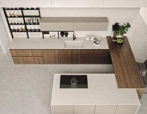 Cucina rovere moro moderna ad angolo Componibile Arrex in Offerta Outlet