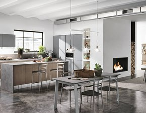 Cucina rovere moro moderna ad isola Componibile Colombini in Offerta Outlet