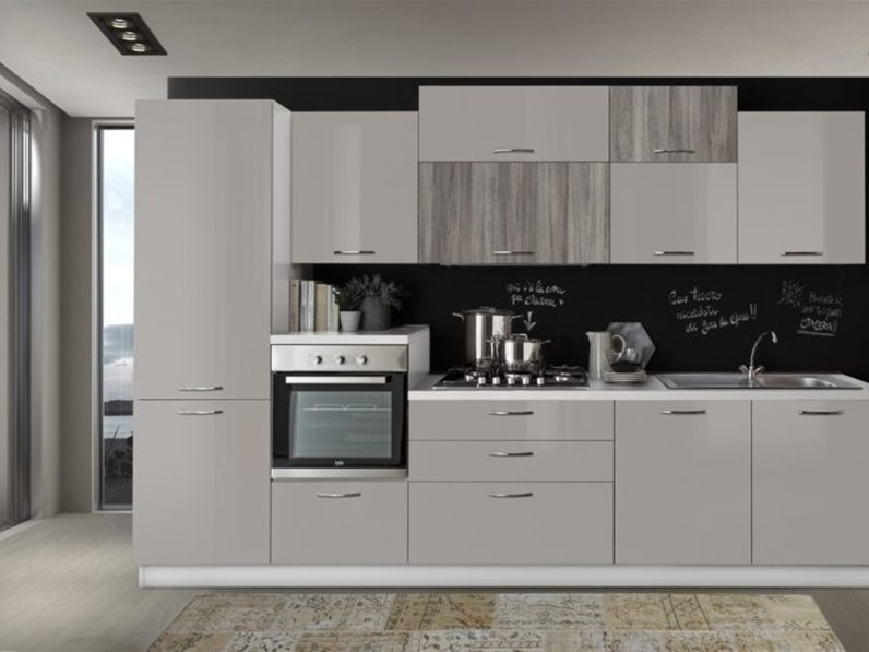 Cucine Moderne Rovere Moro.Cucina Rovere Moro Moderna Lineare Cucina Lineare 330 Cm Rovere Grigio Sabbia Lucido Artigianale