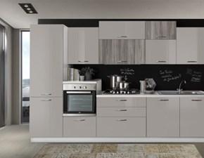 Cucina rovere moro moderna lineare Cucina lineare 330 cm rovere grigio -sabbia lucido Artigianale