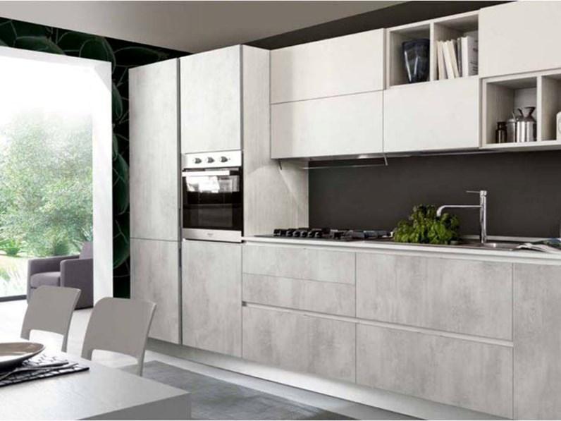 Cucina S75 City versione resina cementizia calce e cemento scontato del -35  %