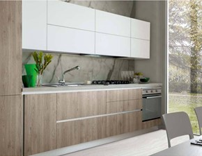 Cucina S75 Ingrid versione rovere fiammato brown scontato del -35 %