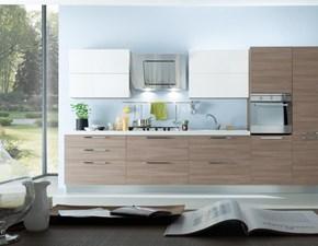 Cucina S75 moderna lineare bianca in laminato materico Cucina mod.irma bicolore in promo-sconto del 35%