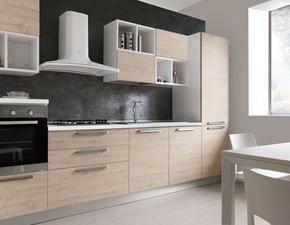 Cucina S75 moderna lineare rovere chiaro in polimerico lucido Cucina mod.thelma con cappa a vista scontata del 35%