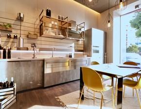 Cucina Scavolini design lineare grigio in laminato materico Mia