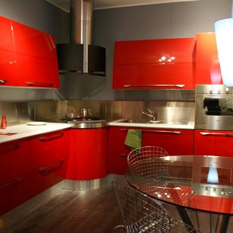 outlet Cucina Scavolini Flux Moderna Laccato Lucido rossa