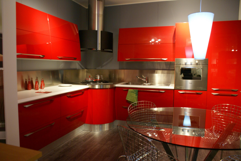 cucina rossa arredamento cucina : Cucina Scavolini Flux Moderna Laccato Lucido rossa - Cucine a prezzi ...