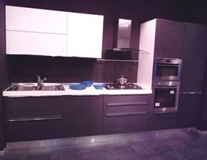 Cucina Slim lineare ante polimerico opaco rovere grigio/bianco a prezzo ribassato 50%