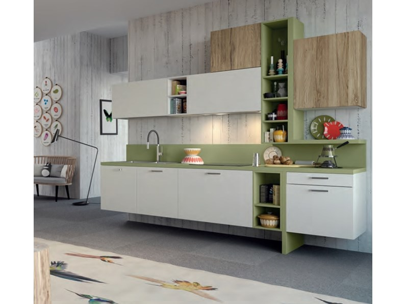Cucina spring dibiesse lineare colorata in promozione for Cucine colorate