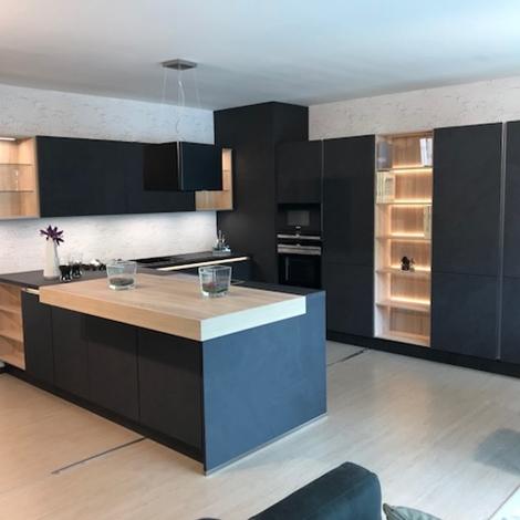 outlet Cucina moderna grigio ardesia con penisola, accessori ed elettrodomestici a prezzo scontato