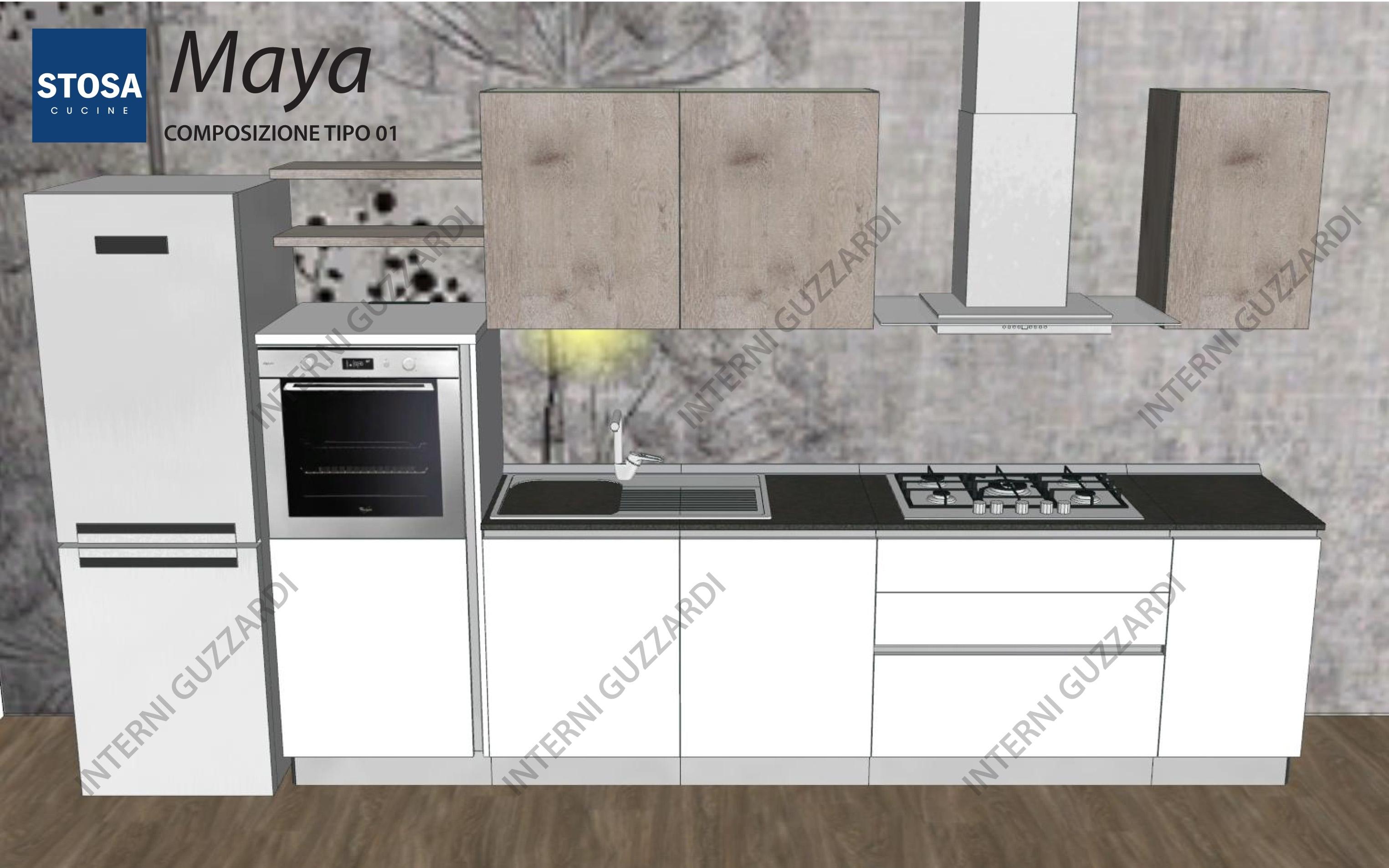 cucina Stosa Cucine Maya composizione lineare - Cucine a prezzi ...