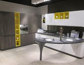 Cucina Stosa moderna con penisola altri colori in laminato materico Bring