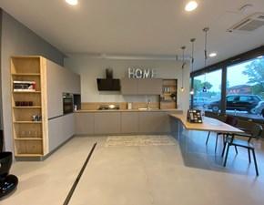Cucina Stosa moderna con penisola rovere chiaro in legno Cucina infinity