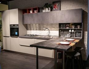 Cucina Tablet head moderna grigio con penisola Lube cucine