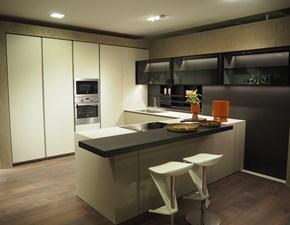 Cucina tortora design con penisola Mh6 Modulnova in offerta