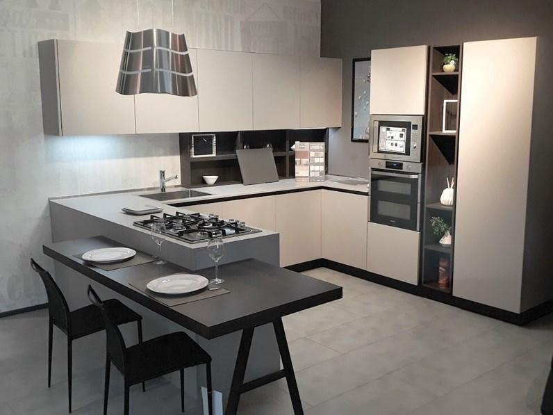 Cucina tortora moderna con penisola kal con gola arredo3 in offerta outlet - Cucina moderna con penisola ...
