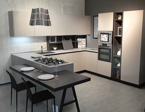 Cucina tortora moderna con penisola Kalì con gola Arredo3 in Offerta Outlet