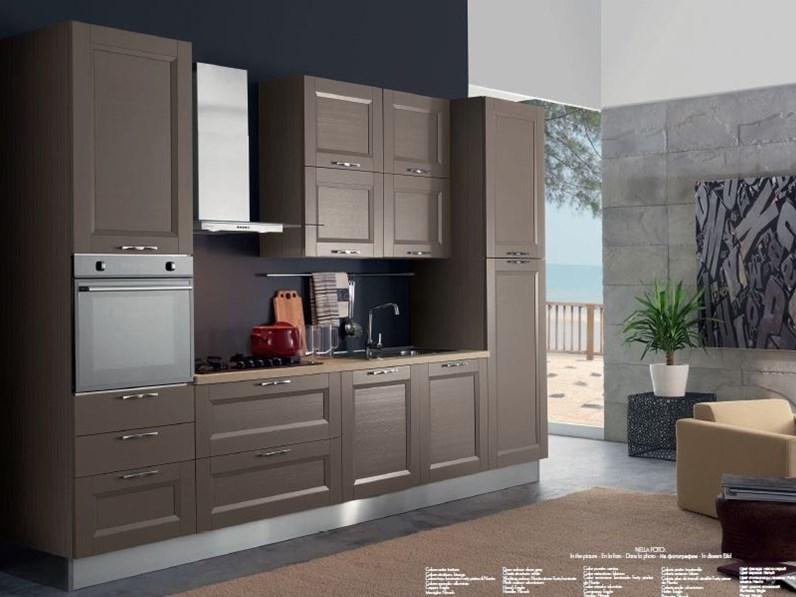 Cucina tortora moderna lineare Cucina mod.caravaggio versione in arkolcel  colore nocciola scontata del 30% Aran cucine in Offerta Outlet
