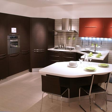 outlet Cucina Veneta Cucine Carrera - pvc rovere scuro scontato del -60 %