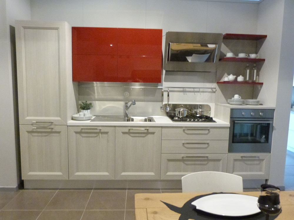 Veneta cucine moderna in laminato rovere link e laccato lucido ciliegio cucine a prezzi scontati - Laminato in cucina ...