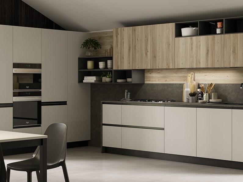 Cucine Moderne In Rovere.Cucina Zoe Moderna Rovere Chiaro Ad Angolo Primacucine