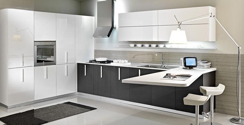 Cucina moderna ad angolo promo cm con a cucine colorate per le piccole riguardanti cucine - Cucina angolare con penisola ...