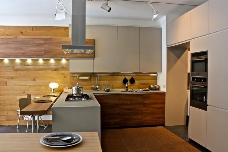 Cucina valcucine demode forma moderna laminato materico tortora cucine a prezzi scontati - Cucine di esposizione outlet ...