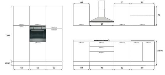 Imperdibile cucina 3 colonne lavastoviglie top - Dimensioni standard mobili cucina ...
