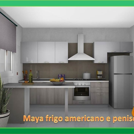 Maya stosa cucine con penisola e frigo americano cucine - Cucine con frigo esterno ...