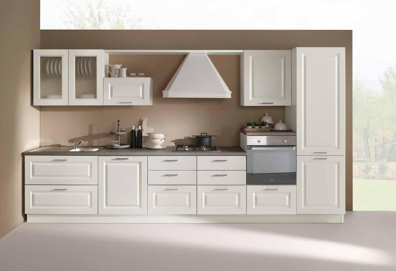 Cucina lineare in stile contemporaneo con elettrodomestici - Cucina con elettrodomestici ...