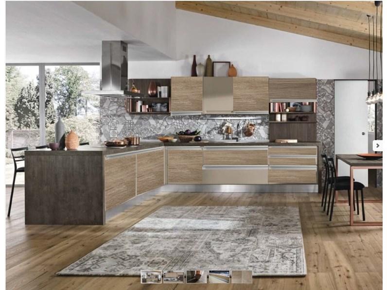 Nuovi mondi cucine cucina cucina con penisola angolare con maniglia integrata moderno corda e - Cucina angolare con penisola ...