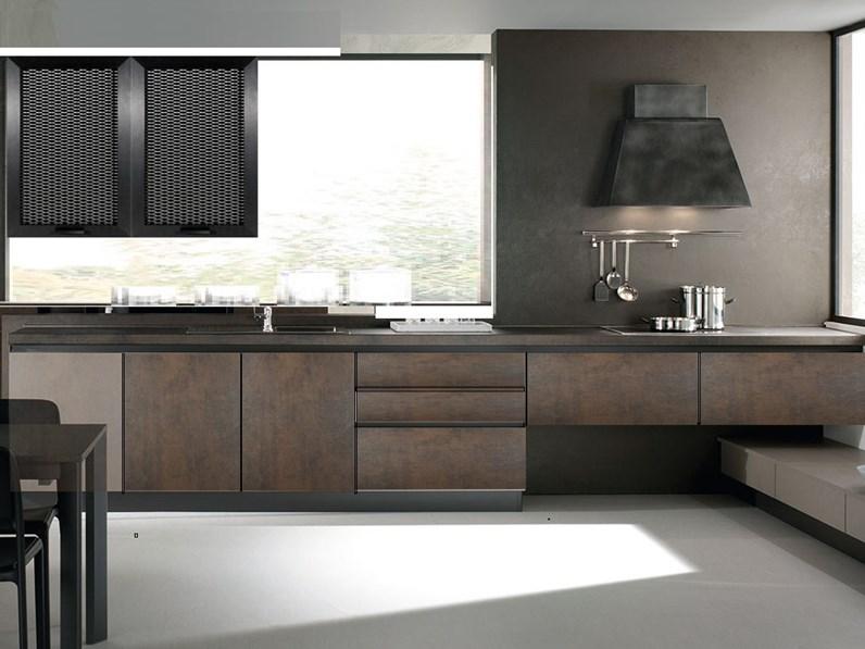 Nuovi Mondi Cucine Cucina Cucina design industrial effetto ossido bronzo  con gola in offerta outlet