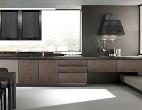 cucina design industrial effetto ossido bronzo con gola in offerta outlet