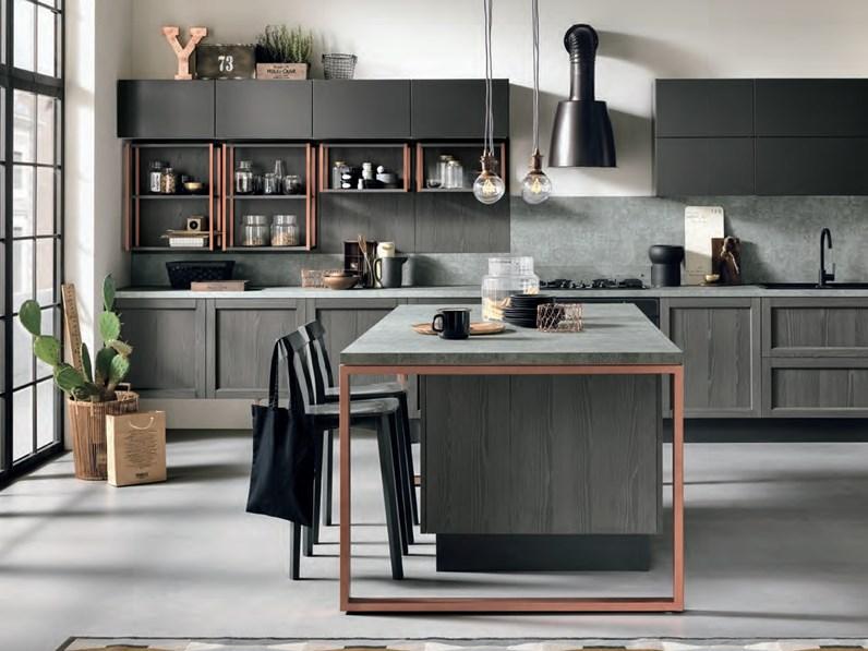 Nuovi Mondi Cucine Cucina Cucina legno grigia modello industrial offerta  pezzo Moderne Legno Grigio