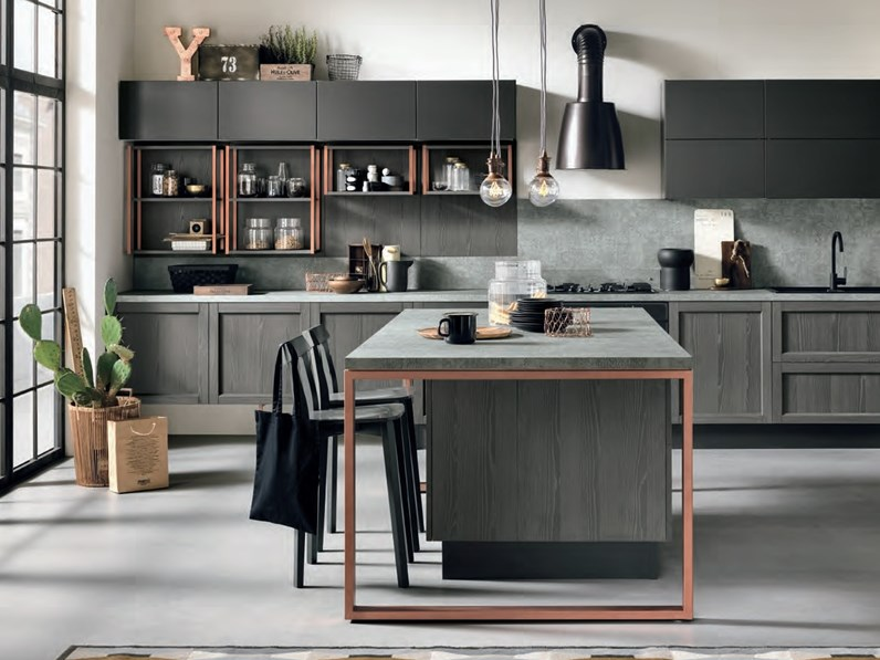 Nuovi mondi cucine cucina cucina legno grigia modello - Cucine moderne legno ...