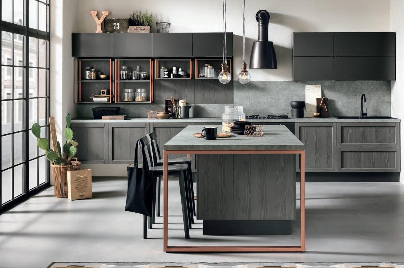 Nuovi mondi cucine cucina cucina legno grigia modello for Cucine moderne offerta
