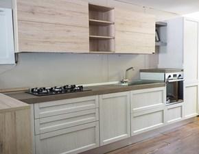 Cucine Cucina Cucina  moderna con penisola da cm 180 mobile  essenza rovere in offerta nuovimondi outlet scontato del -49 %