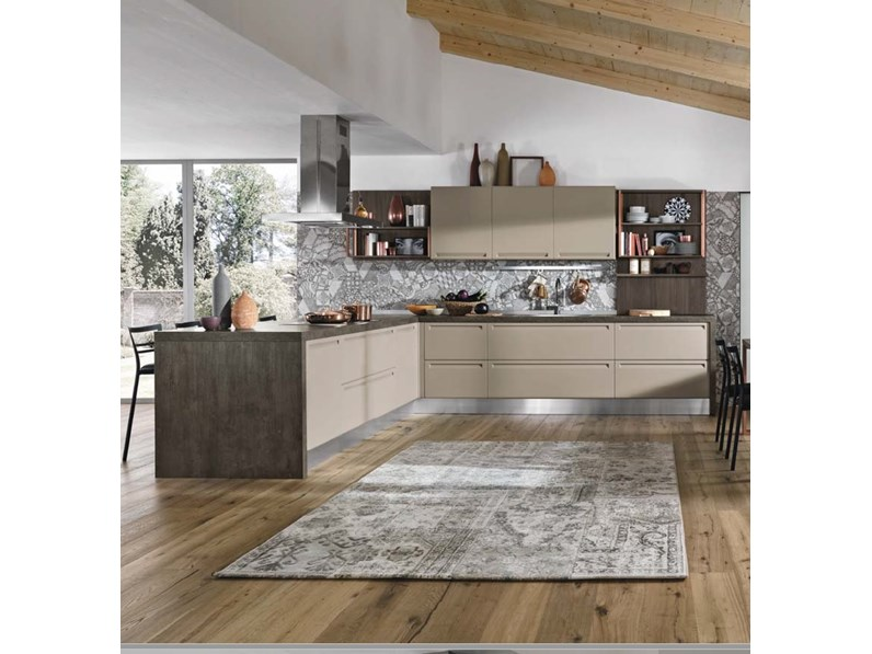 Nuovi mondi cucine cucina cucina moderna con penisola in colore corda e maniglia integrata in - Cucina moderna con penisola ...